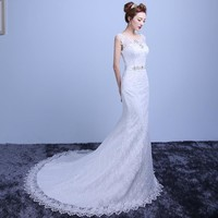 2016 White Lace Wedding Dress Court Train Mermaid Wedding Dresses Elegant Bride Dresses Vestidos De Baratos Wedding Gowns Y601