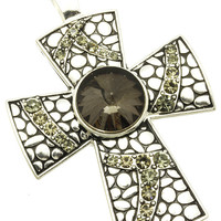 NECKLACE / CROSS / PENDANT FOR / TEXTURED METAL / CRYSTAL STONE / HOMAICA / MAGNETIC / DOES NOT INCLUDE CHAIN / 3 1/4 INCH DROP / NICKEL AND LEAD COMPLIANT
