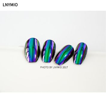 2017 New Mirror metal fake nails purple and green effect 24pcs press on nail tips