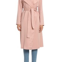 Badgley Mischka Faux Leather Trim Long Trench Coat | Nordstrom