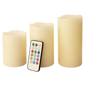 "Candles Flameless LED Ivory Color with Remote - Set of 3 (4"" 5"" 6"")"