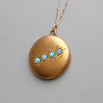 Antique Opal Locket. Four Beautiful Stones. Plated Gold Fill.