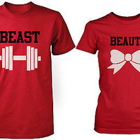 Beauty and the Beast - His and Her Matching T-Shirts for Couples in Red