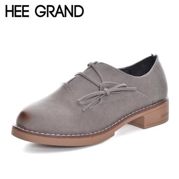 HEE GRAND 2017 New Women Oxford Medium Heel Pumps Casual Shoes PU Leather Fashion Lace -up Shoes Woman High Heels XWD6064