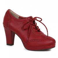 Sexy Burgundy Front Lace Up Platform High Heel Booties