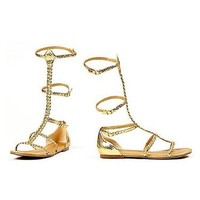 "Ellie Shoes E-015-Cairo, 0"" Gladiator Flat Sandal. 10 Gold"