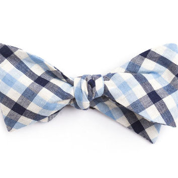 Navy & Baby Blue Plaid Bow Tie