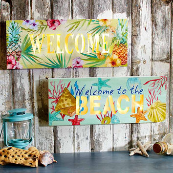 "Lighted Welcome Sign Beach Theme Tropical Floral Pineapple Print 20""W x 8""L"