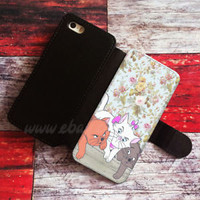 Cat flower Wallet iPhone cases Cat Samsung Wallet Leather flower Phone Case