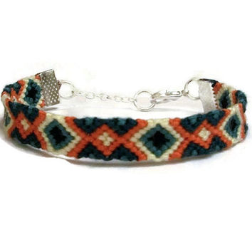 Black Orange Teal Turquoise & Yellow Diamond Pattern Macrame Embroidery Friendship Bracelet with Silver Chain and Clasp