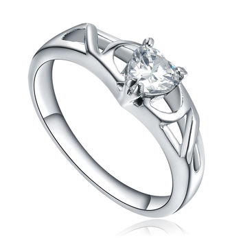 Stainless Steel Open Heart Shape Cubic Zirconia Ring