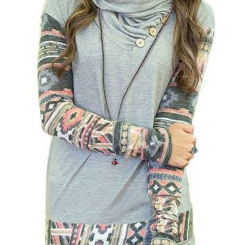 Light Blue Cowl Neck Printed Sleeve Button Design Sweatshirt