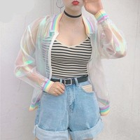 ESBONEJ Holographic Transparent Summer Pastel Rainbow Jacket