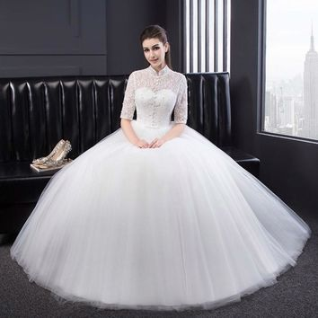 Lace Half Sleeves Wedding Dresses Modest Bride Wedding Gowns