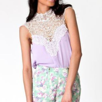 Lilac Sleeveless Top with Crochet High Neckline&Tie Back