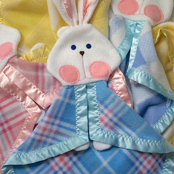 New blue and pink plaid bunny blanket