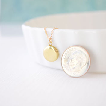 Tiny round locket - Simple locket gold necklace