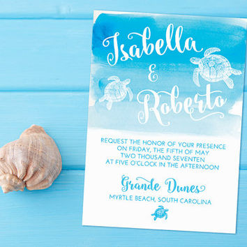 "Beach Wedding Invitation Card - Sea Turtle Invitation - Watercolor Wedding Invitation ""Sea Turtle Wash"" Wedding Invitation Card - WE PRINT"
