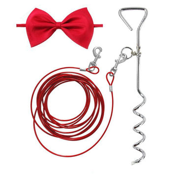 Dog Tie Out Cable 16ft and Spiral Stake with Anti-Winding Metal Ring and 2 Clasps for Yard Camping and Outdoors Bowknot Tie as Gift Small to Medium Pets Up to 20lb Red '