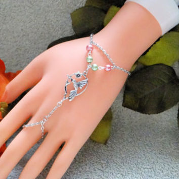 Slave Bracelet, Humming Bird , Hand Chain, Infinity Ring, Hand Harness, Hand Jewelry,  Silver
