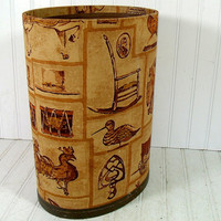 Vintage Fabric Upholstered Library Waste Bin - Early Colonial American Primitive Decor Basket - Mid Century Oliver K. Whiting Design