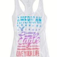 AEO Women's Bright Graphic Tank (White)