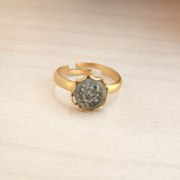 Vintage Style Ring, Floral Ring, Gold Ring,Band Ring, Cameo Ring, Adjustable Ring,, Floral Cameo Ring
