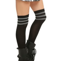 LOVEsick Black Grey Knee-High Crew Socks