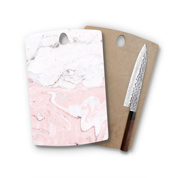 Blush Pink White Marble Agate Rectangle Wood Cutting Board Trendy Unique Home Decor Cheese Board