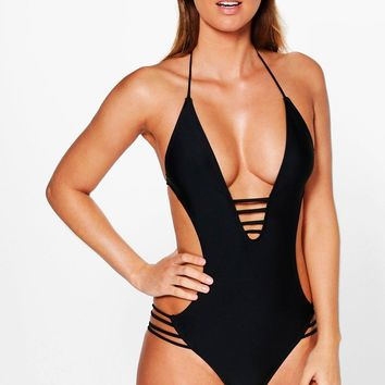 Aruba Strappy Open Back Swimsuit | Boohoo