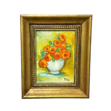 Small Floral Still Life Painting, 5 x 4 Frame, Poppies, Vintage Art, Orange Flowers, Wall Decor, Poppy, Small Framed Art, Miniature Painting