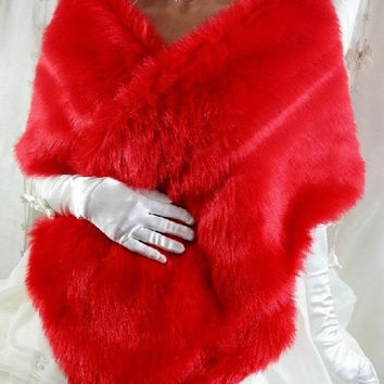 Red White Black Faux Fur Long Cape Stole Shawl Wrap Bolero Tippet For Bridal Wedding Dress Prom Party Evening = 1932300804