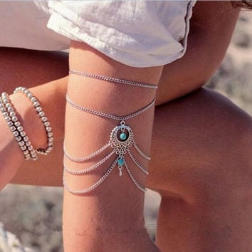 Turquoise Chain Arm Cuff