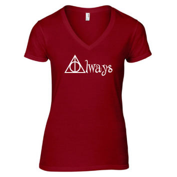 Harry Potter Inspired Clothing - Hallows Always V-Neck - Ladies