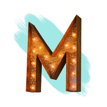"12"" Letter M Lighted Vintage Marquee Letters (Modern Font/Rustic)"