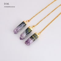 New  Raw Amethyst Druzy Cylinder Pendant Necklace Colier Boho Gypsy Jewelry Amethyst Pendant Natural Stone Necklace Joias
