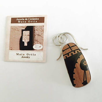 Mata Ortiz Sterling Pendant - Unique Pottery Shard in 925 Sterling Silver Bezel Setting w/ certificate of authenticity - Handcrafted Jewelry