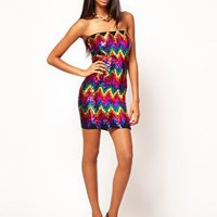 John Zack Zig Zag Sequin Bandeau Dress at asos.com
