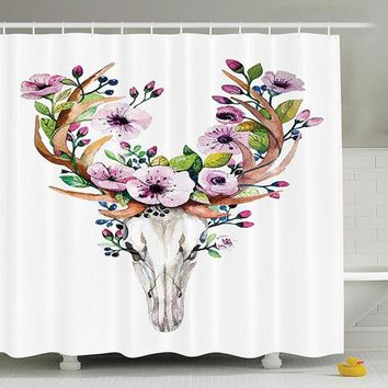 Shower Curtain Floral Skull Printed Waterproof Mildew Proof  Home Bath Curtains with Hooks