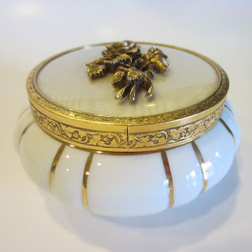 White Porcelain Matson Powder Jar Bronze Rose Bouquet Medallion Cover Gold Stripes
