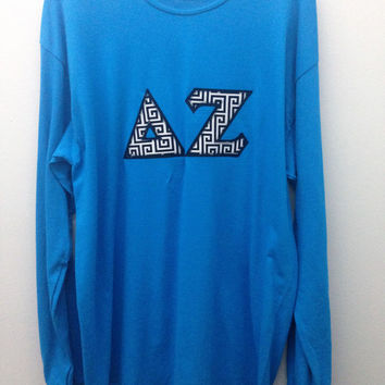 Delta Zeta Sorority Large Long Sleeve T Shirt with Greek Letters - Ready to Ship!
