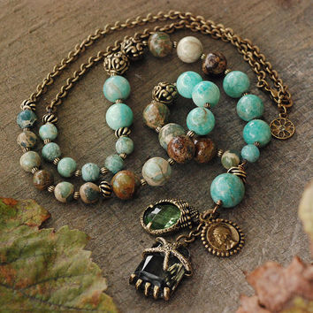 Boho Necklace, Gypsy Necklace, Gemstone Necklace, Beaded Necklace, Green Aventurine, Earthy Necklace, Jasper, Coin, Yoga Necklace N1376