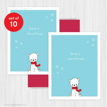 Christmas Card Set Holiday Cards Cute Handmade Greeting Funny Pun Polar Bear Beary Xmas Humorous Happy Holidays Fun Boxed Set Pack of Cards
