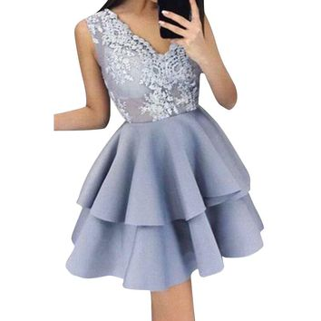 Elegant Women Blue Sliver Embroidery Lace Ball Gown Dress 2018 Vintage Sexy Sheer Mesh Sleeveless Night Party Dresses WS5265W