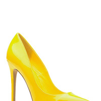 Yellow Faux Patent Leather Pointy Toe Classic Pumps