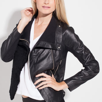 cut25 Shearling Front Moto Leather Jacket in Jet