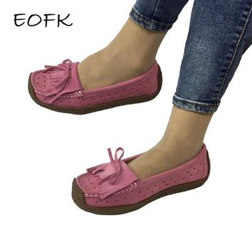 EOFK 2017 Summer sweet Women Suede Leather Moccasins Shoes Flats Breathable Woman Fringe Butterfly knot Loafers zapatos mujer