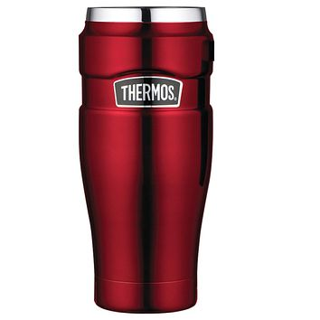 Thermos Stainless King Vacuum Insulated Travel Tumbler - 16 oz. - Stainless Steel-Cranberry [SK1005CRTRI4]