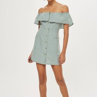 Linen Mini Bardot Dress - Dresses - Clothing