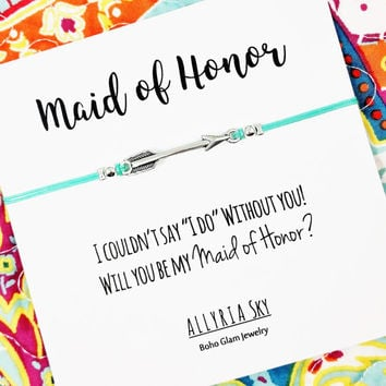 """Maid of Honor Proposal Bracelet   I Couldn't Say """"I Do"""" Without You   Bridesmaid Gift   Bridal Party Jewelry   Be My Maid of Honor Invite"""